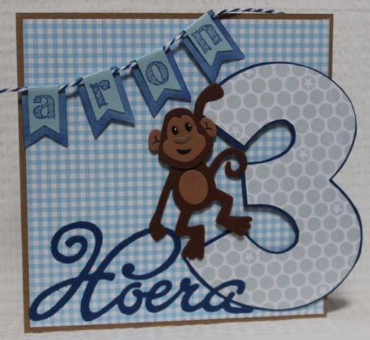 Gemaakt door Joke # kinderkaart met aapje - Aron 3 jaar