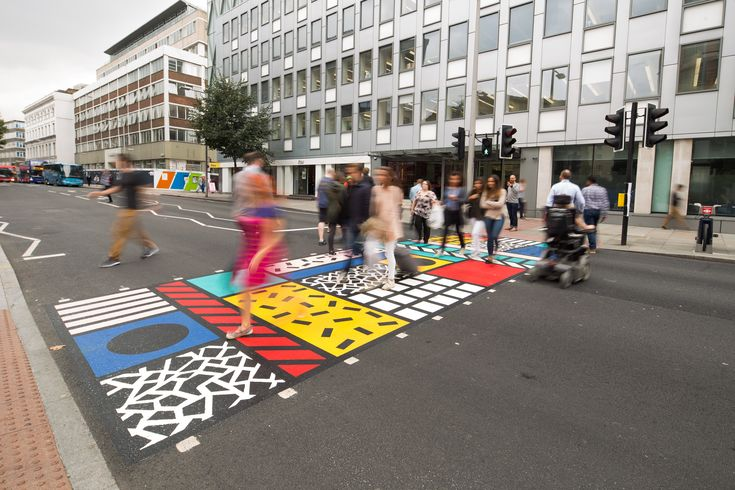 Artist Camille Walala has created a colourful pedestrian crossing on Southwark Street in Bankside, London