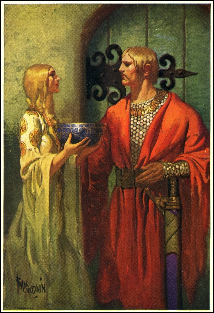 """Uther and Ygraine. Color plate from """"King Arthur and his Knights"""", illus. by Frank Godwin (1889 ~ 1959)  (via Null Entropy)"""