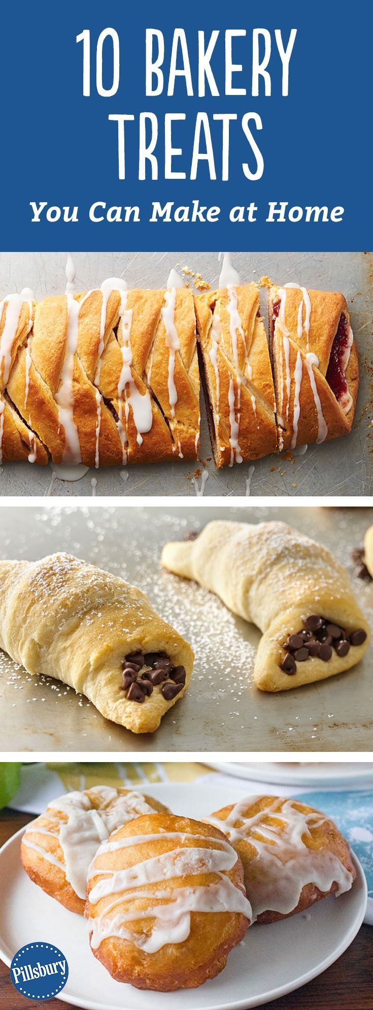 10 Bakery Treats You Can Make at Home - Make treats reminiscent of your favorite bakery items with these easy recipes. From chocolate crescents to your favorite cheese danish, you really can do it all at home!