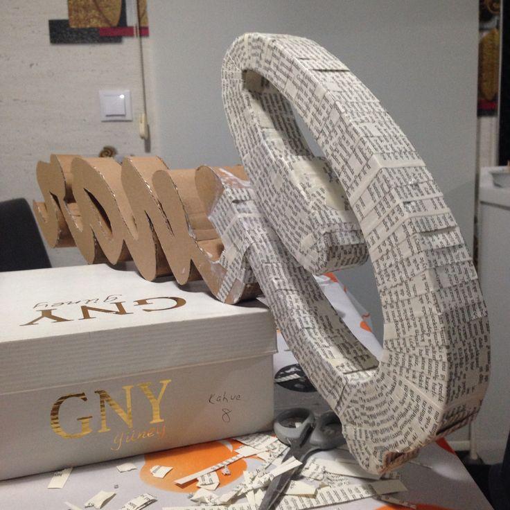 Cardborad 3D letters - Karton 3 boyutlu harfler Papier mache - kağıt dekupaj