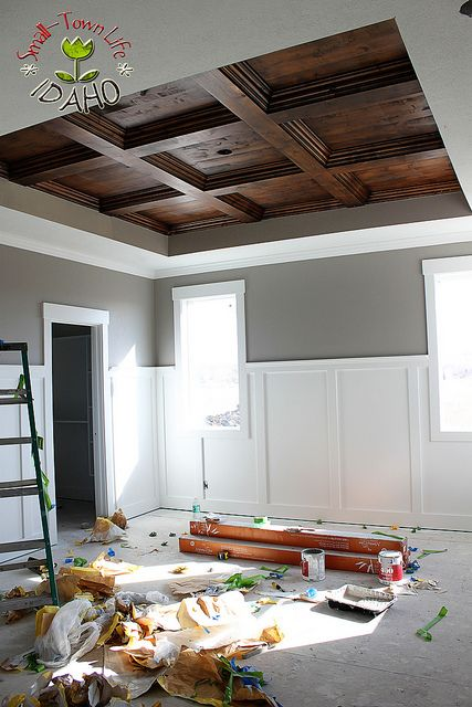 Beautiful Wood Ceiling for Master Bedroom, although I'd use earth tones for the walls to match instead of a cold gray/white!