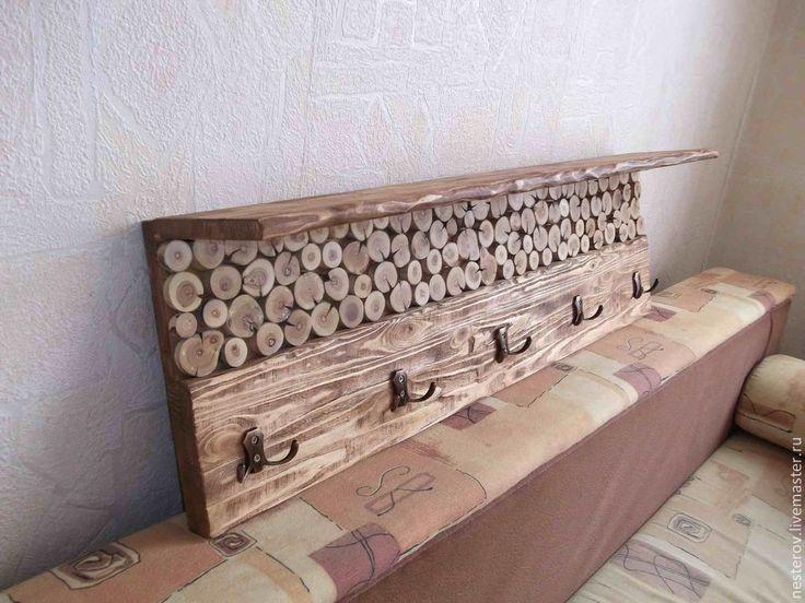Купить Вешалка со спилами дерева - коричневый, массив сосны, срезы дерева, спилы