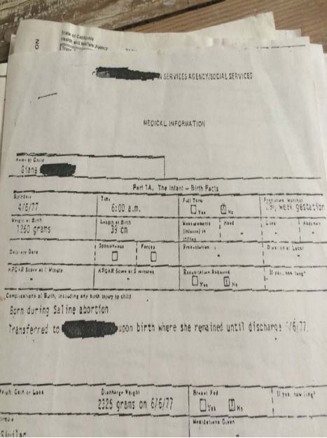 Gianna Jessen's medical records.
