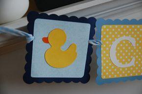 Banner pato nombre Banner cumpleaños del pato de goma goma