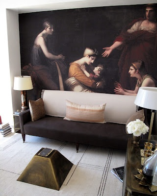 Raji RM & Associates created this clever photo wall by snapping a photo of an 18th century painting and blowing it up to make a custom wallpaper mural. (From the 2012 Kips Bay Decorator Show House)
