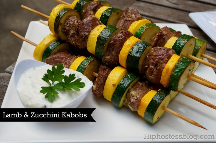 Lamb & Zuchinni Kabobs with Tzatziki Dipping Sauce. Ingredients: tzatziki, lamb, olive oil, garlic, lemon, oregano, sea salt, pepper, zuchinni, yellow squash