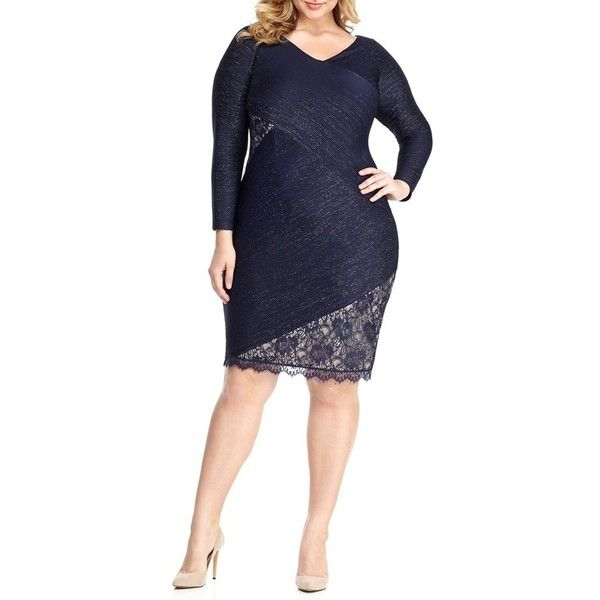 Plus Size Women's London Times Metallic Sheath Dress ($108) ❤ liked on Polyvore featuring plus size women's fashion, plus size clothing, plus size dresses, plus size, plus size sheath dress, london times dresses, sheath dresses, plus size lace cocktail dresses and blue plus size dress