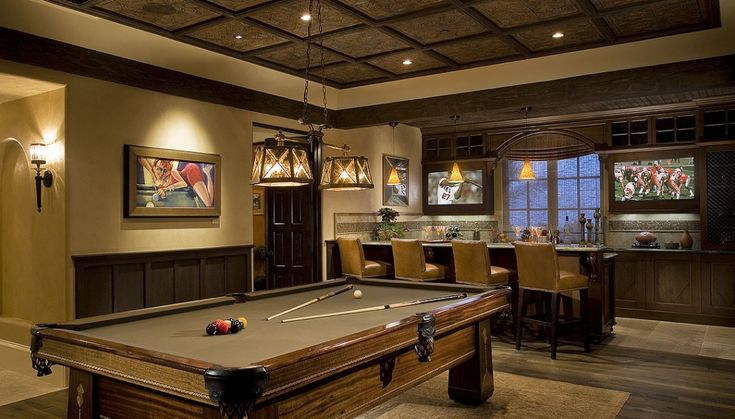 Upscale sports lounge w dual tv screens and generous bar art deco antique pool table - Deco lounge tv ...
