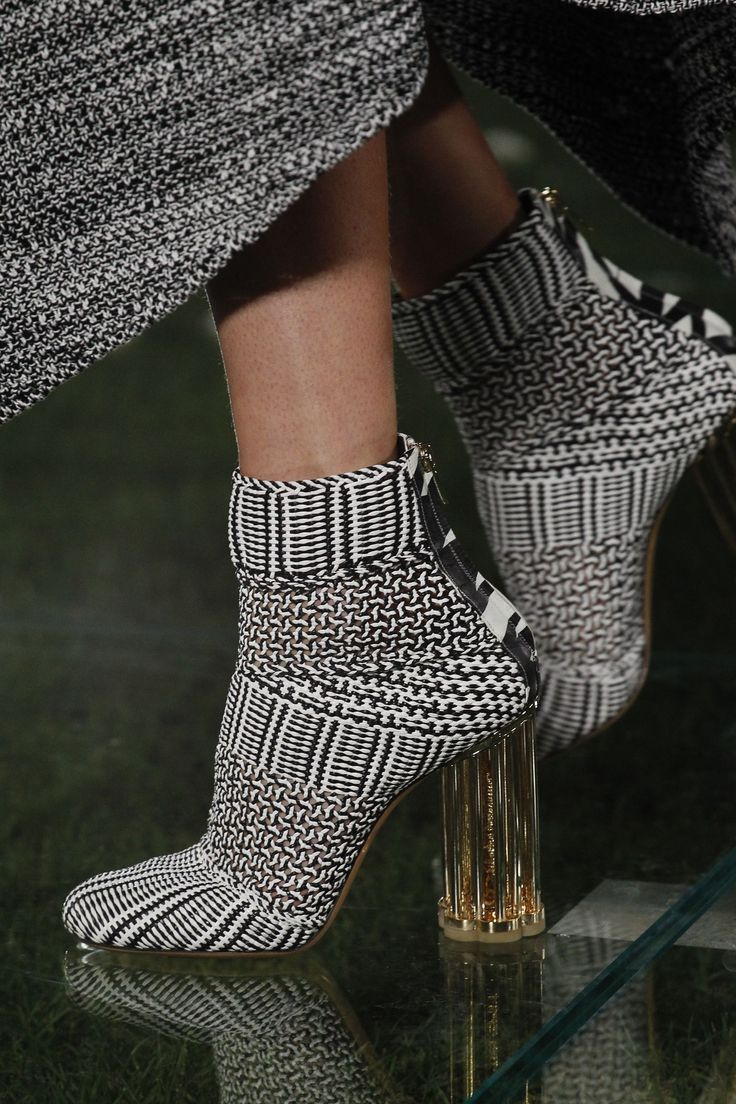 Monochrome knit ankle boots with lucite heels from Salvatore Ferragamo's SS18 Collection #stylish...x