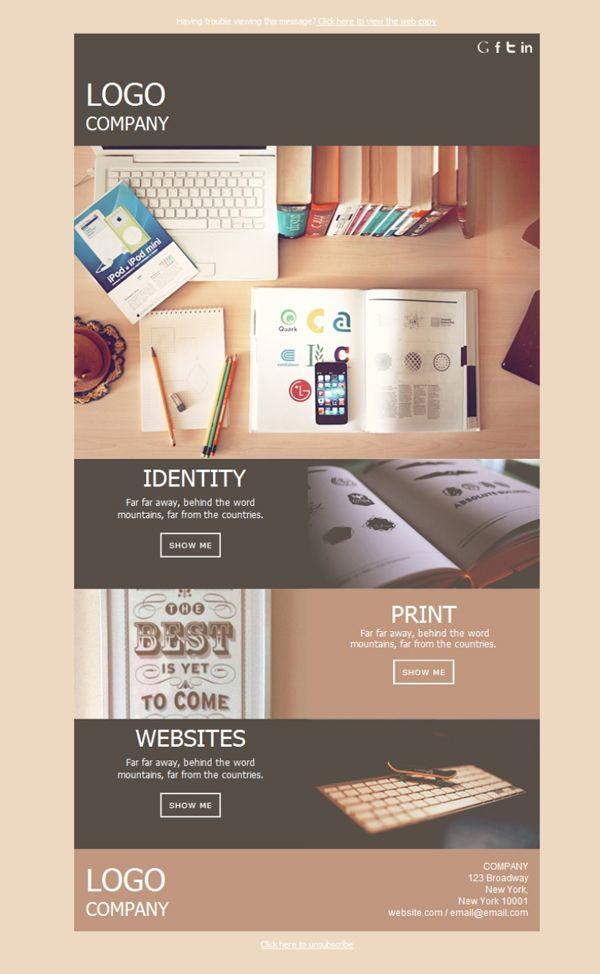 Comparte tu identidad visual y tus creaciones con el mundo entero haciendo emailing con estas plantillas newsletter para el diseño gráfico.