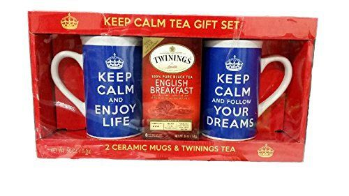 Twinings English Breakfast Tea Gift Set; Keep Calm Mug Set in Royal Blue with Motivational Messages- 1 Mug each: Keep Calm and Enjoy Life, Keep Calm and Follow Your Dreams - http://teacoffeestore.com/twinings-english-breakfast-tea-gift-set-keep-calm-mug-set-in-royal-blue-with-motivational-messages-1-mug-each-keep-calm-and-enjoy-life-keep-calm-and-follow-your-dreams/