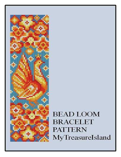 Bead Loom Folk Bird 1 Folk Art Bird Wide Cuff by MyTreasureIsland