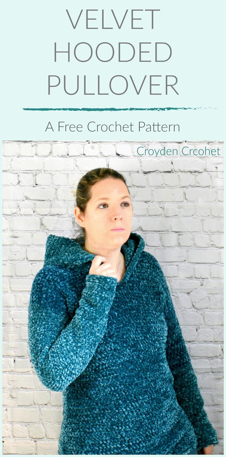 d665a32aa An easy and comfy pullover that is crocheted with Bernat Velvet yarn. A  free pattern on the Croyden Crochet Blog.