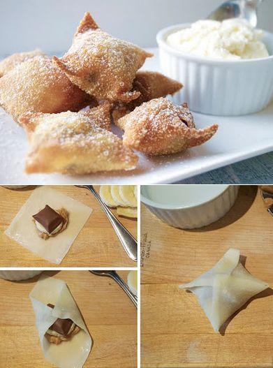 Fried Chocolate and Peanut Butter Banana Wontons