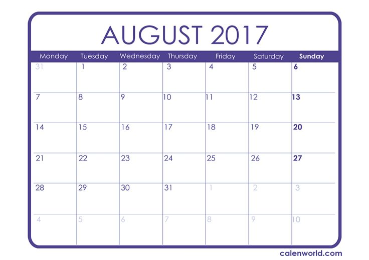 August 2017 Calendar with Holidays  http://socialebuzz.com/august-2017-calendar-printable-template/