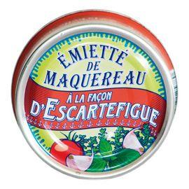 Emietté Escartefigue van La Belle-Iloise  Kleine stukjes makreel op Mediterrane wijze bereid  Proef de mediterrane zon door de heerlijke combinatie van fijne makreel met de zachte smaken van stukjes tomaat, uien, Provençaalse kruiden, een vleugje knoflook en een verfijnde olijfolie.