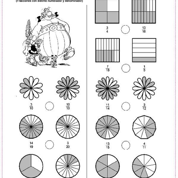 Comparar Fracciones Comparacion De Fracciones Ejercicios De Fracciones Fracciones Para Primaria