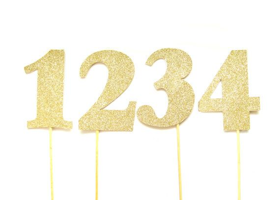 Large Gold Glitter Number Cake Toppers Table numbers by Pelemele