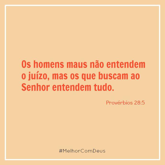 """""""Os homens maus não entendem o juízo, mas os que buscam ao Senhor entendem tudo."""" Provérbios 28:5  #Proverbios #Senhor #MelhorComDeus  http://melhorcomdeus.com.br"""