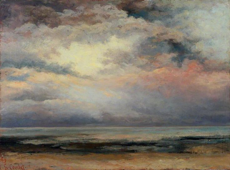 """""""L'Immensité; Marée basse, soleil couchant"""" (1869) By Gustave Courbet, from Ornans, France (1819 - 1877) - oil on canvas, 60 x 82.2 cm - © Victoria and Albert Museum, London, UK Bequeathed by Constantine Alexander Ionides, 1901 http://www.vam.ac.uk/"""