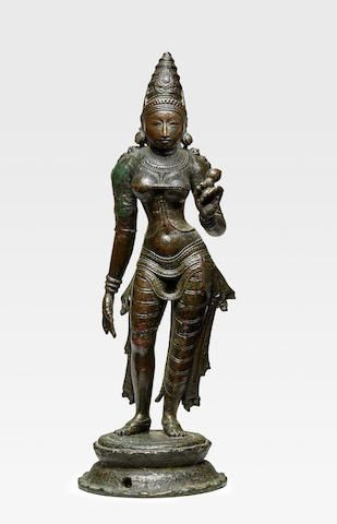 A LEADED BRONZE FIGURE OF BHUDEVI  TAMIL NADU, CHOLA PERIOD, 10TH/11TH CENTURY