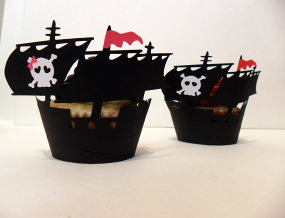 Pirate Ship Cupcake Wrappers Girl - set of 12 $16.13 #pirate #skull #cupcake @Nichole Simmons: Cupcake Wrappers, Cakes Cupcakes Pops Cookies, Pirate Ships, Cupcake Holders, Pirate Birthday, Skull Cupcake, Ship Cupcake