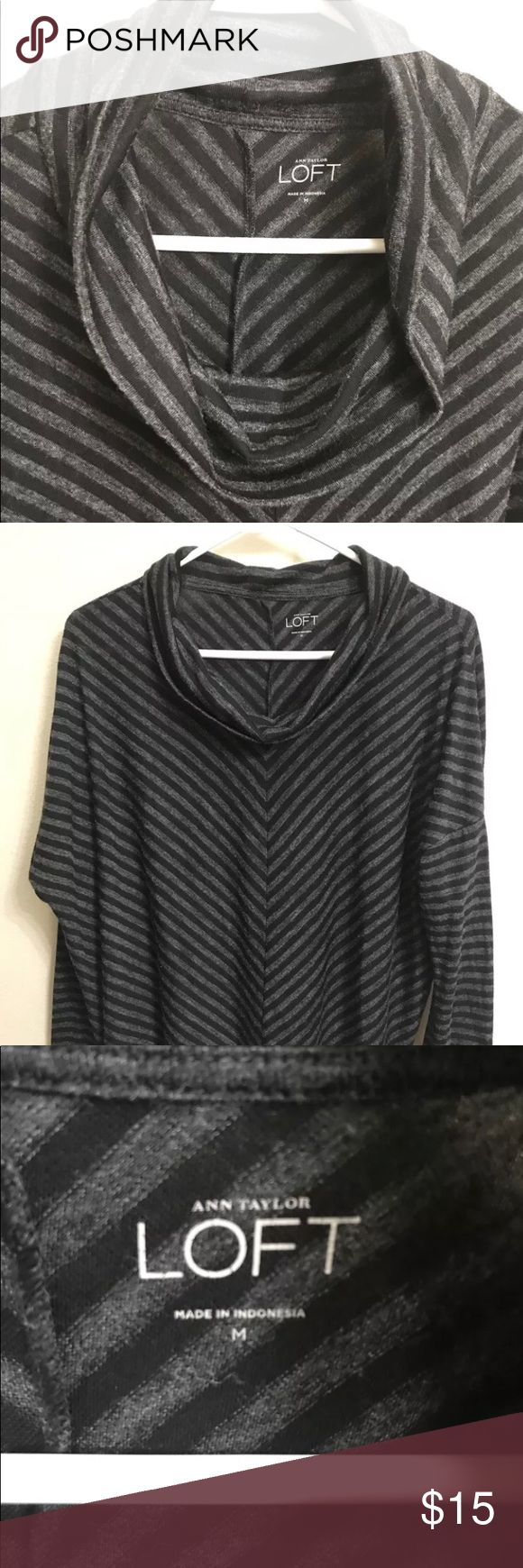 Ann Taylor Loft Cowl Neck Lightweight Sweater ANN TAYLOR LOFT Women's Cowl Neck Sweater with a Stripe Design in Black & Gray Thin Lightweight Sweater in Polyester & Rayon. SIZE : M  Preowned in Good condition Ann Taylor Sweaters Cowl & Turtlenecks