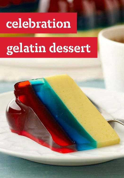 Celebration Gelatin Dessert — Celebrate your heritage and your country colors in this layered gelatin dessert. A perfect recipe to try this Fourth of July!