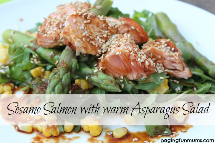 Sesame Salmon with warm Asparagus Salad. A deliciously healthy family meal