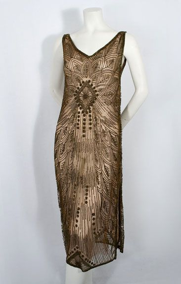 1920s beaded dress | I wish I knew who this designer was -- oh my god, what a unique piece!