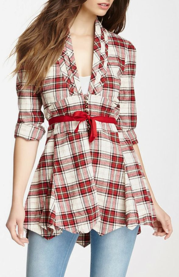 Tantalizing Plaid Tunic - Really cute and this is ready made, but I can save some money and do this one from a man's plaid shirt using one of the tutorials that you can find on Pinterest.