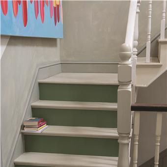 Stairs in Off-White & Calke Green