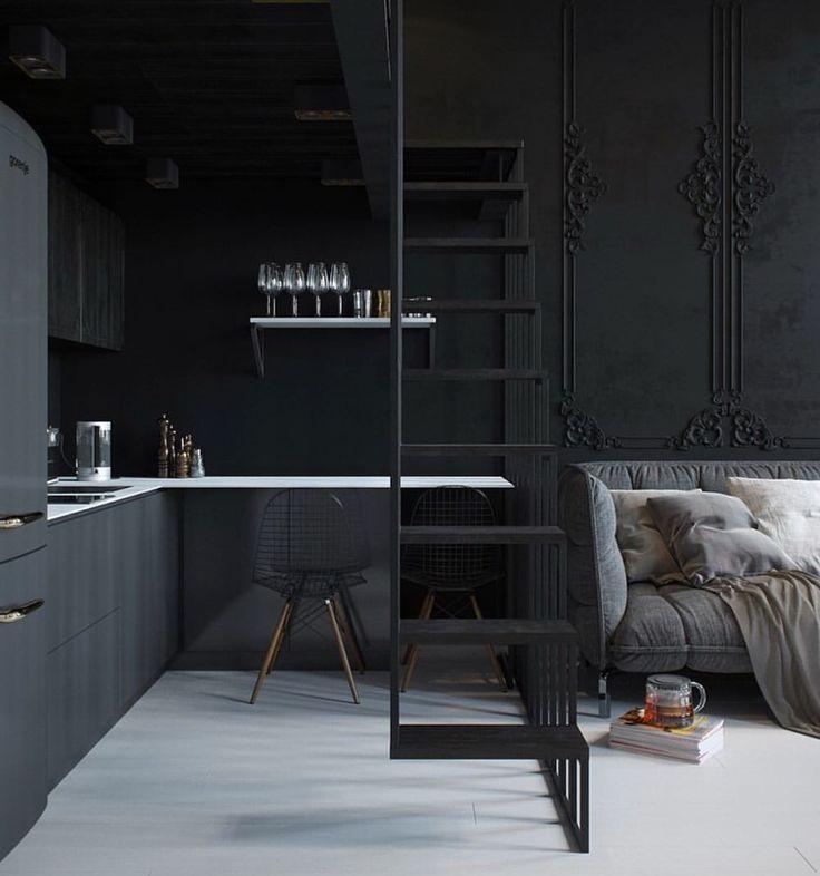 Via Interiormilk Worldsuniquedesigns Black Kitchen Livingroom Interior Design
