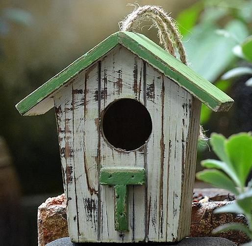 Pleasing Our Distressed Hanging Birdhouse Is Rustic Looking Yet Brand Home Interior And Landscaping Ferensignezvosmurscom