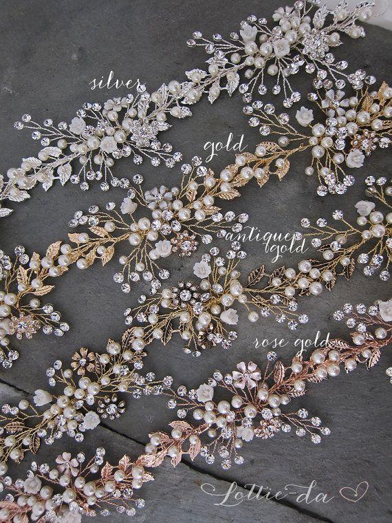 Gold Boho Hair Halo Bridal Pearl Flower Hair Crown Hair
