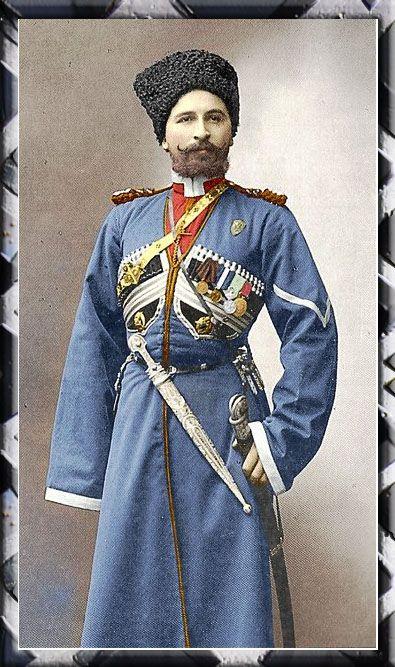 A period colourised photo of the Tsar's guard.