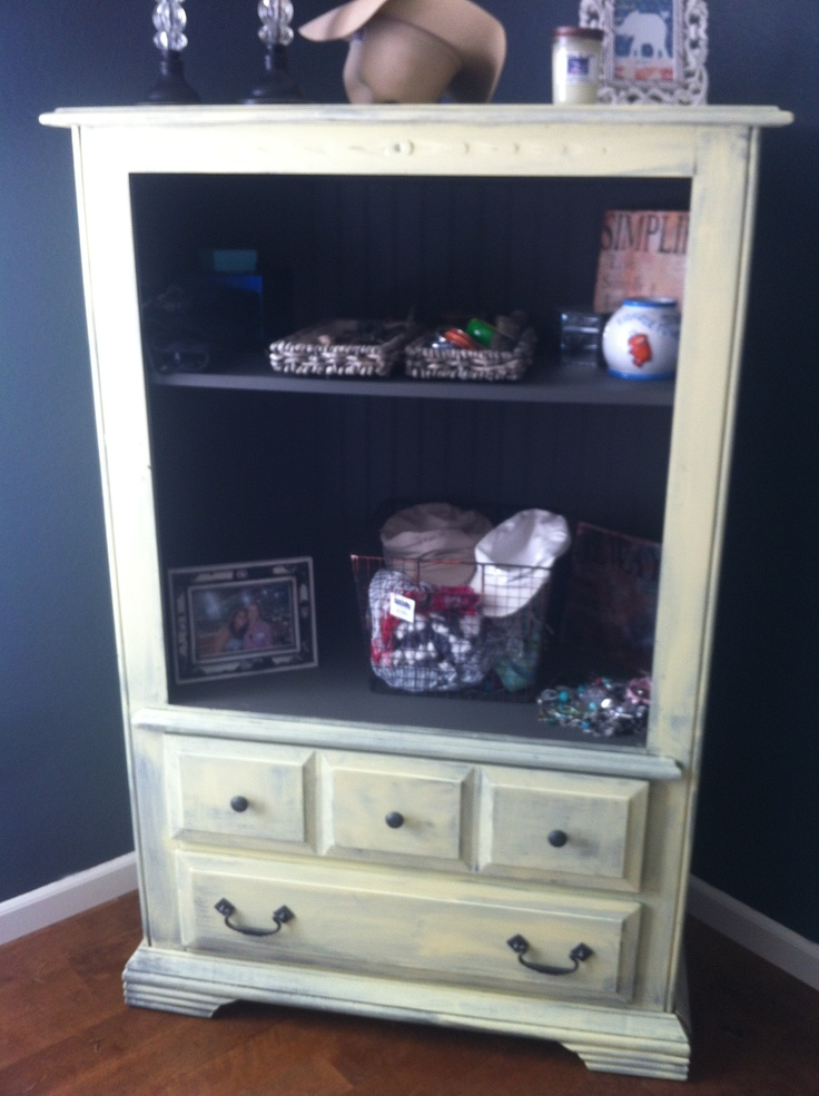 Repurposed TV Cabinet. Now Holds Hats,scarves And Jewelry.