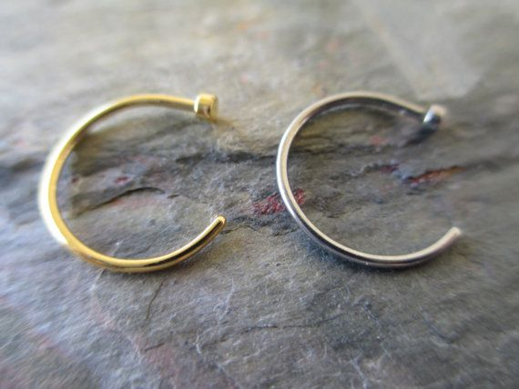 "SALE!!!! Lot of 2 Nose Ring Hoops14K Gold IP & Surgical Steel Nose Rings 20 Gauge (.81mm) 3/8"" (9.5mm), $10"