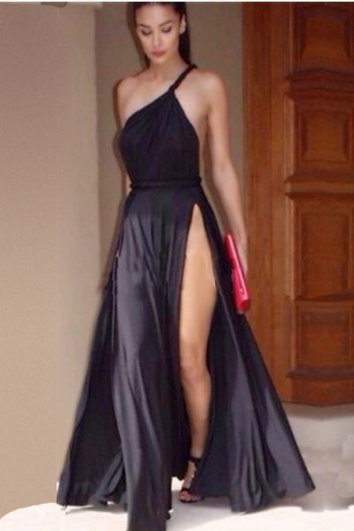 Sexy Spaghetti Strap Oblique One Shoulder Sleeveless Backless Side Splits Design Solid Black A Line Ankle Length Dress