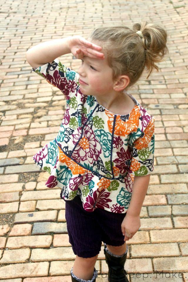 Piped Peplum Top + Free Pattern | Eat Sleep Make via kids clothes week blog