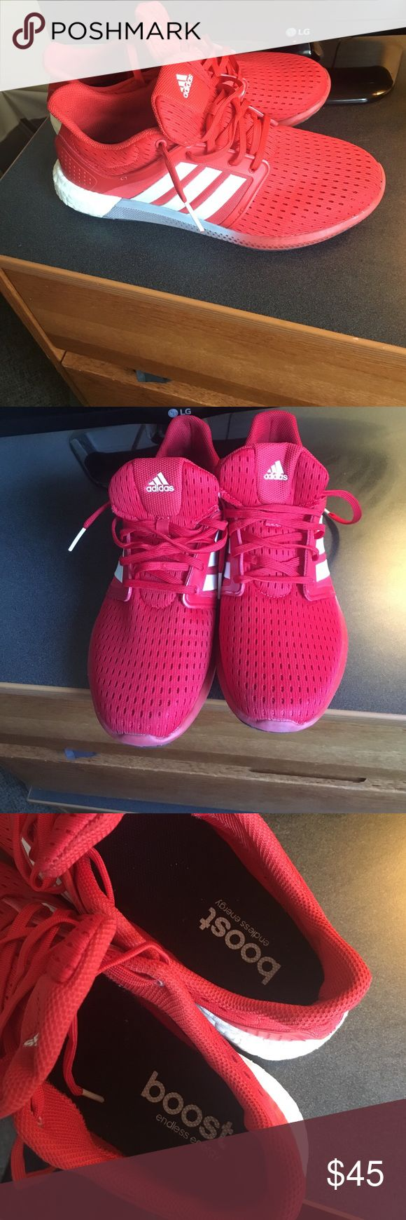 Red Adidas Boost Red Adidas Boost shoes, perfect condition, worn only 2 times. Just not a shoe color that I have a lot of clothes to go with! Feel free to make an offer! Also a men's 8, women's 10 Adidas Shoes Sneakers