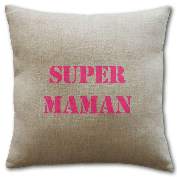 Coussin en lin Super Maman - cadeau fête des mères