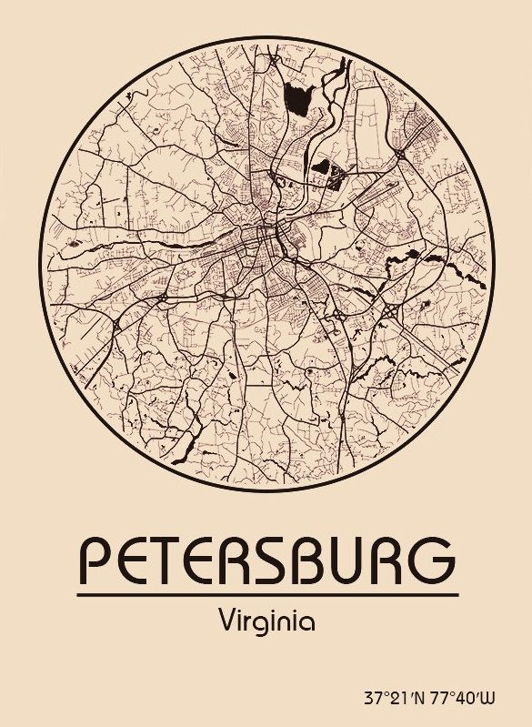 Karte / Map ~ Petersburg, Virginia - Vereinigte Staaten von Amerika / United States of America / USA