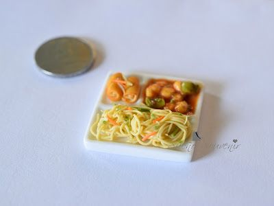 Clay miniatures - Chinese (Indo-Chinese) combo meal (Noodles, Chicken manchurian and spring rolls)