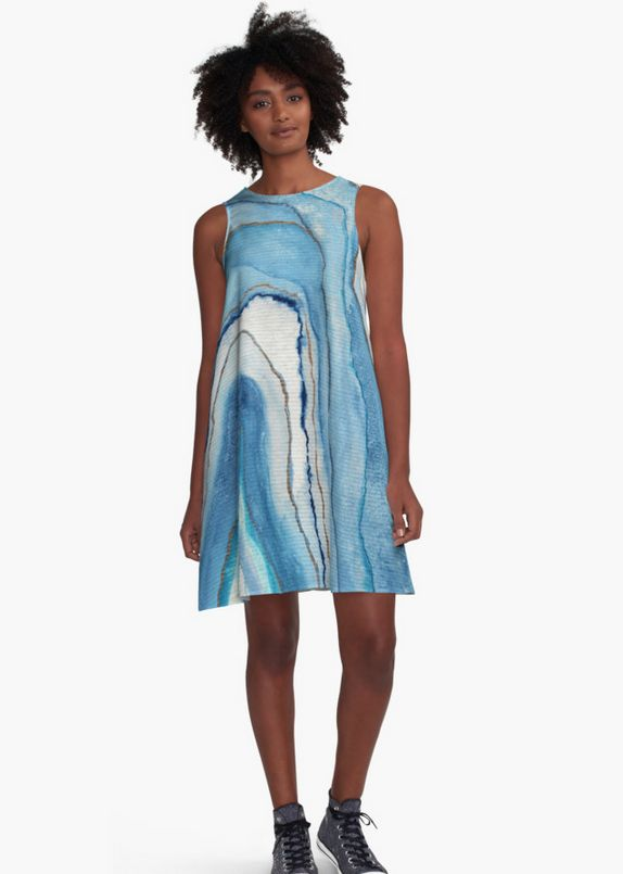 AGATE Inspired Watercolor Abstract 02. Dress by Vivigonzalezart