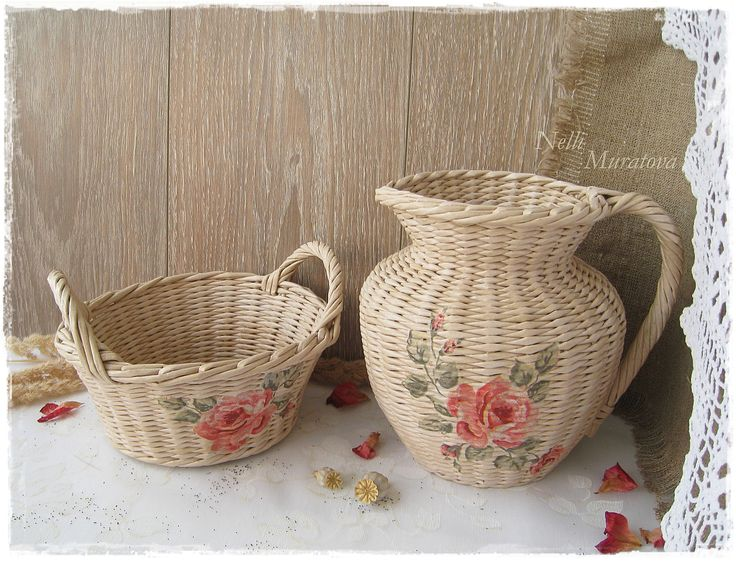 Wattled set with a decoupage
