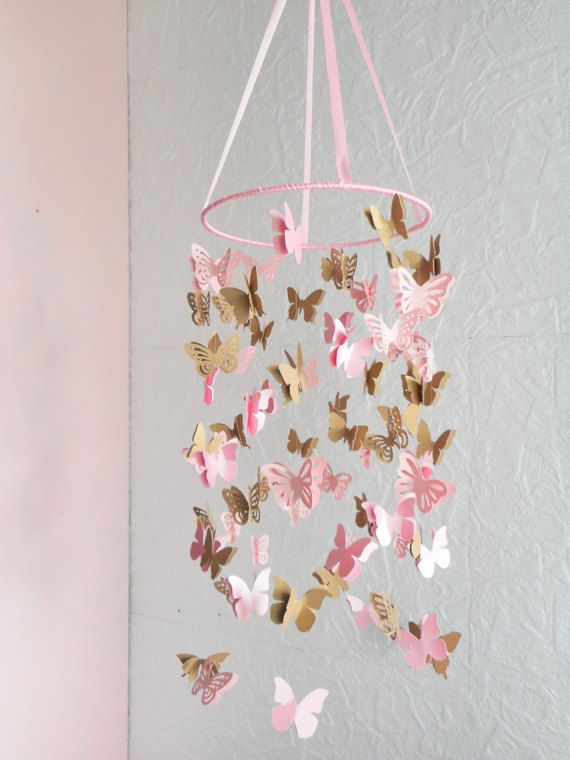 Baby pink and gold butterfly mobile nursery cot mobile