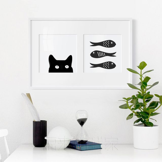 Norte Impresso Gato Preto Peixe Árvore Imagem Pintura A Óleo Arte Da Parede Da Lona Para Sala Unframed Cuadros Decoracion