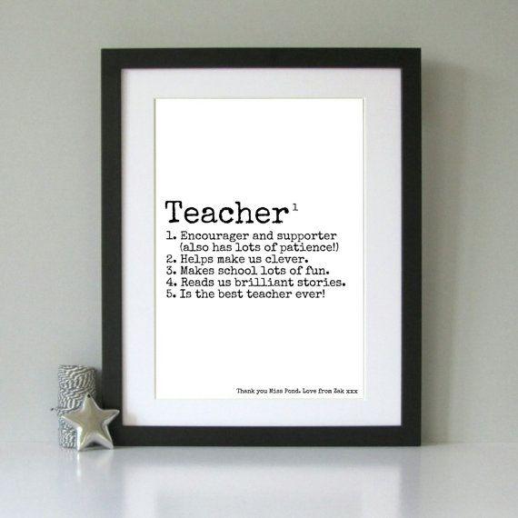 Personalised gift for Teacher. Present for a teacher. Custom teacher gift. Personalised art print for teacher.